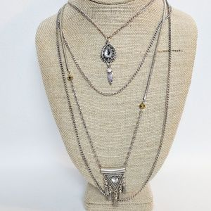 Jewelry - 💢3 for $25💢Silver 4 Strand Pendant Necklace